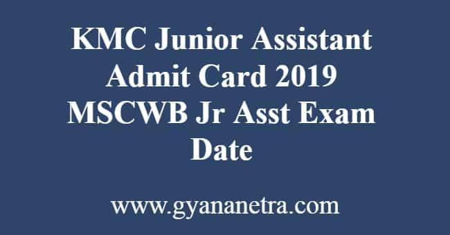 KMC Junior Assistant Admit Card