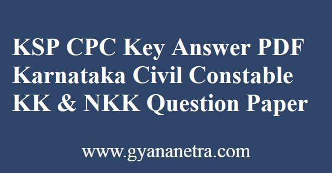 KSP CPC Key Answer PDF