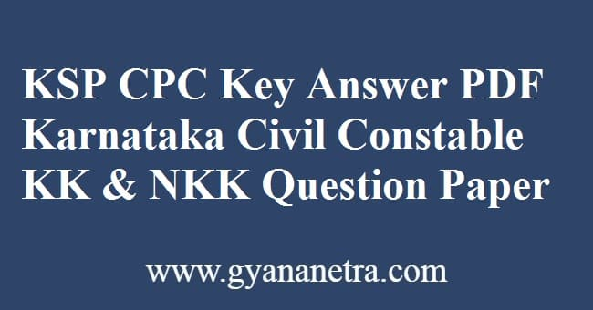 KSP CPC Key Answer PDF
