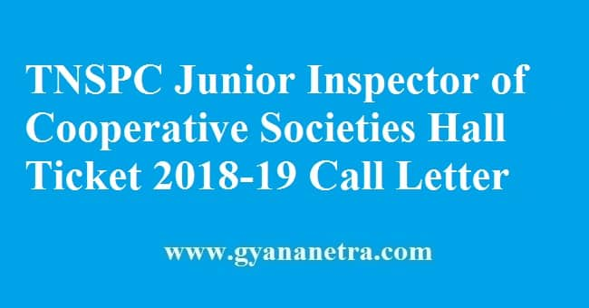 TNSPC Junior Inspector of Cooperative Societies Hall Ticket