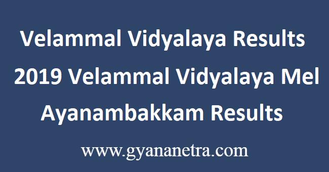Velammal Vidyalaya Results 2019