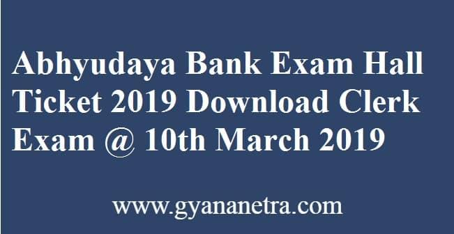 Abhyudaya Bank Exam Hall Ticket