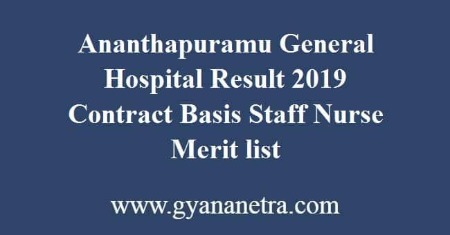 Ananthapuramu General Hospital Result