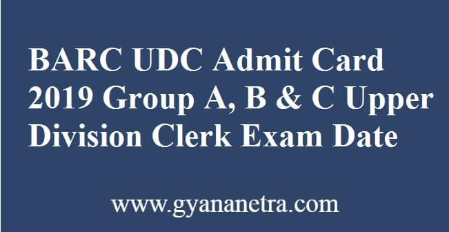 BARC UDC Admit Card