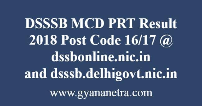 DSSSB MCD PRT Result