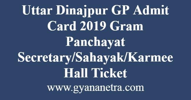 Uttar Dinajpur GP Admit Card