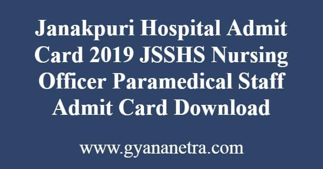 Janakpuri Hospital Admit Card