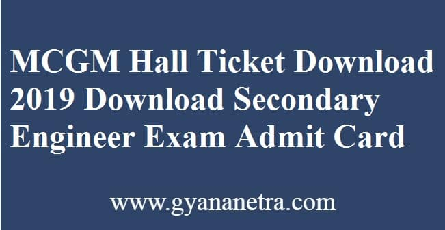 MCGM Hall Ticket Download