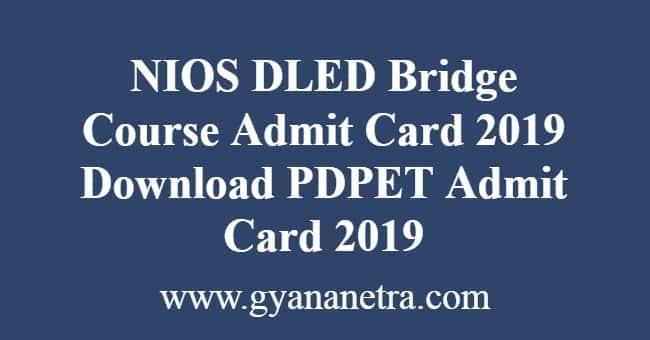 NIOS DLED Bridge Course Admit Card