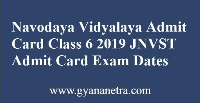 Navodaya Vidyalaya Admit Card Class 6