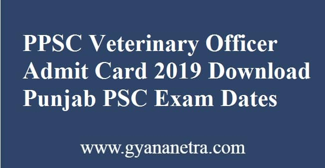PPSC Veterinary Officer Admit Card