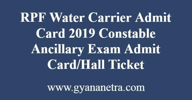 RPF Water Carrier Admit Card
