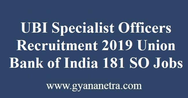 UBI Specialist Officers Recruitment