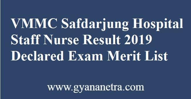 VMMC Safdarjung Hospital Staff Nurse Result