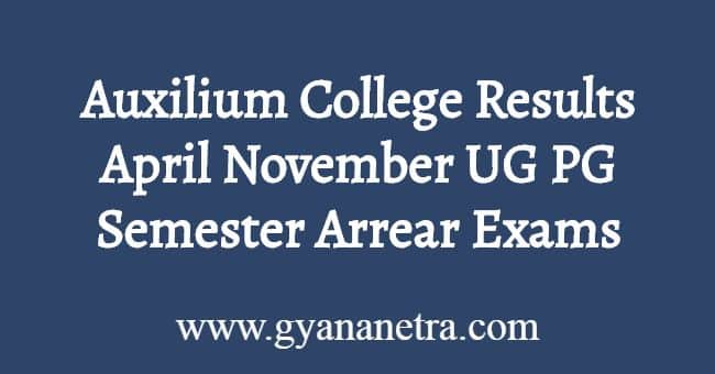 Auxilium College Results April November Download