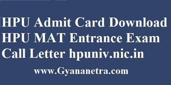 HPU Admit Card Exam Dates