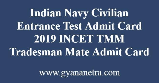 Indian Navy Civilian Entrance Test Admit Card