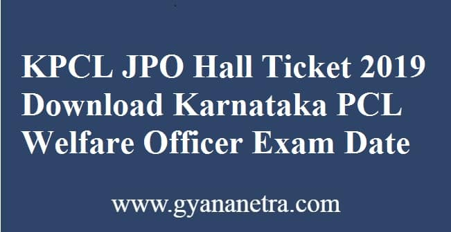 KPCL JPO Hall Ticket