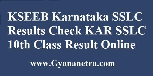 KSEEB Karnataka SSLC Results 10th Class
