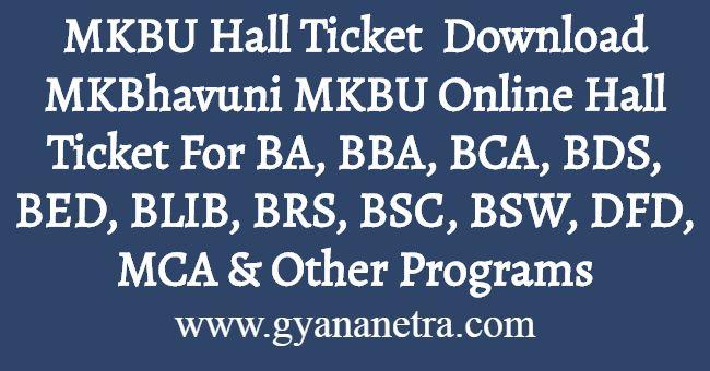 MKBU Hall Ticket Download