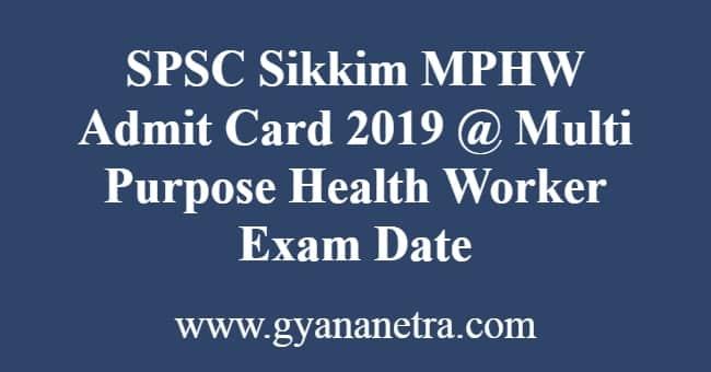 SPSC Sikkim MPHW Admit Card