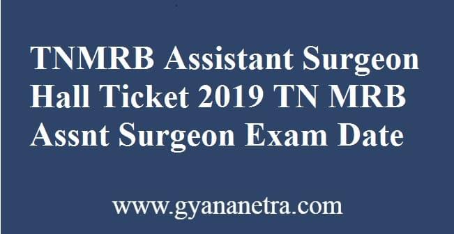 TNMRB Assistant Surgeon Hall Ticket