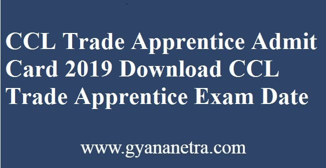 CCL Trade Apprentice Admit Card