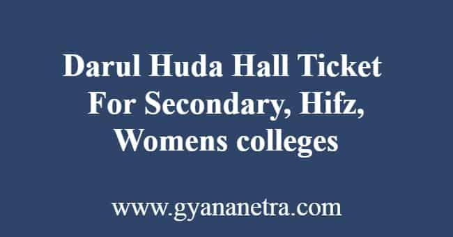 Darul Huda Hall Ticket