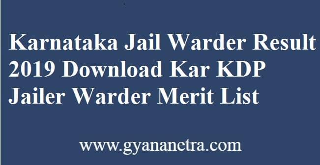 Karnataka Jail Warder Result