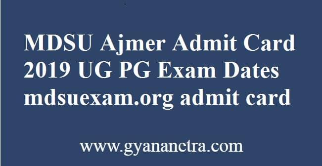 MDSU Ajmer Admit Card