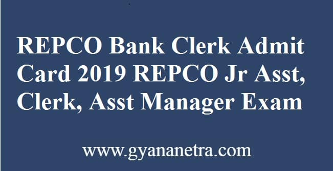 REPCO Bank Clerk Admit Card