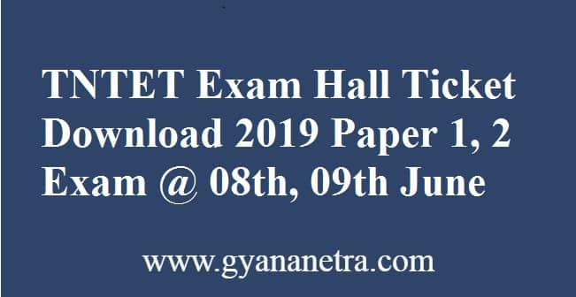 TNTET Exam Hall Ticket Download