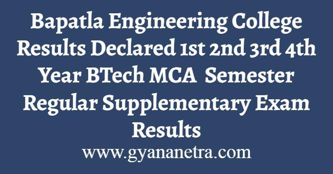 Bapatla Engineering College Result
