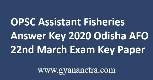 OPSC Assistant Fisheries Answer Key