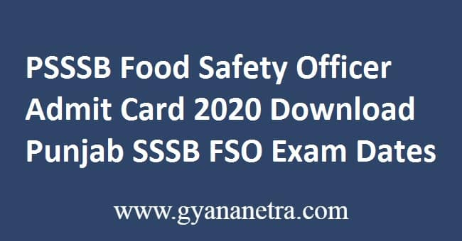 PSSSB Food Safety Officer Admit Card