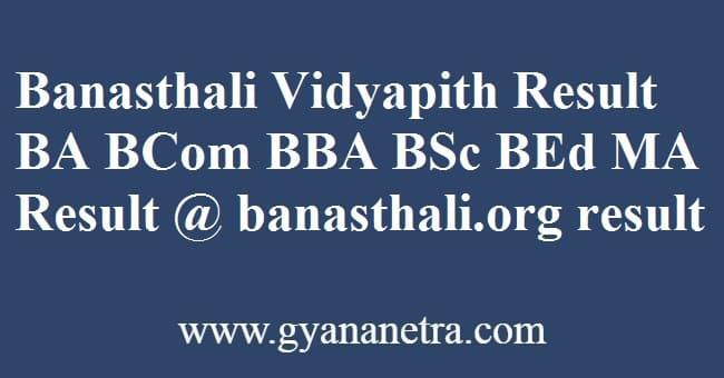 Banasthali Vidyapith Result Check