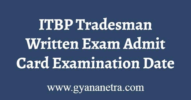 ITBP Tradesman Written Exam Admit Card