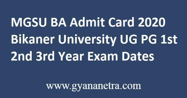 MGSU BA Admit Card