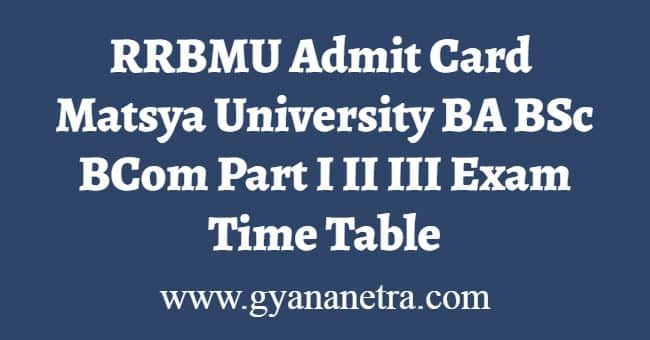 RRBMU Admit Card