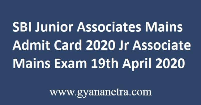 SBI Junior Associates Mains Admit Card