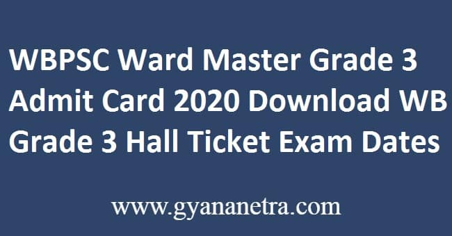 WBPSC Ward Master Grade 3 Admit Card
