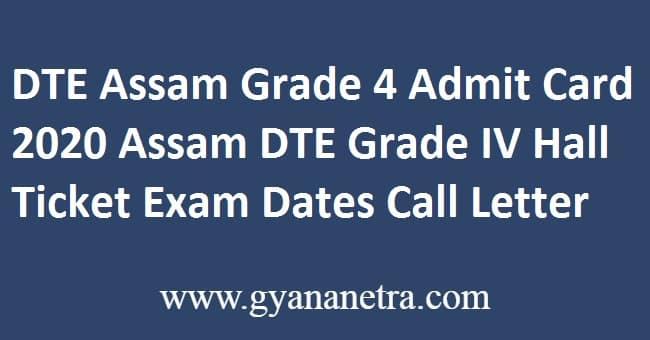 DTE Assam Grade 4 Admit Card