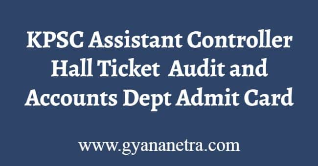 KPSC Assistant Controller Hall Ticket