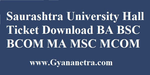 Saurashtra University Hall Ticket Download Exam Time Table