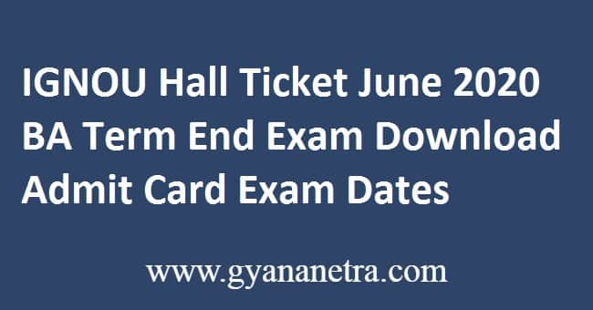 IGNOU Hall Ticket June 2020