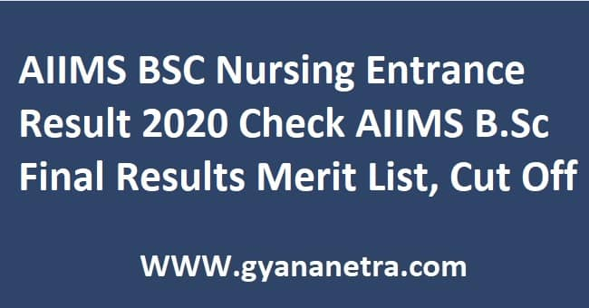 AIIMS BSC Nursing Entrance Result