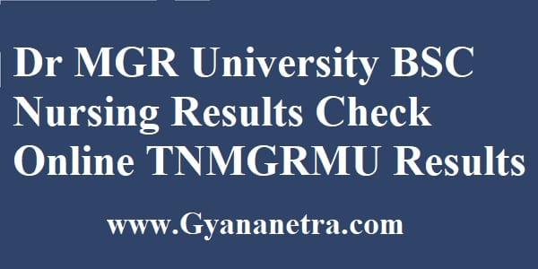 Dr MGR University BSC Nursing Results Check Online
