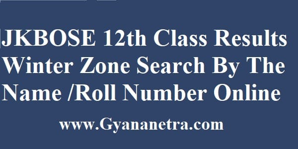 JKBOSE 12th Class Result Winter Zone Search By Name