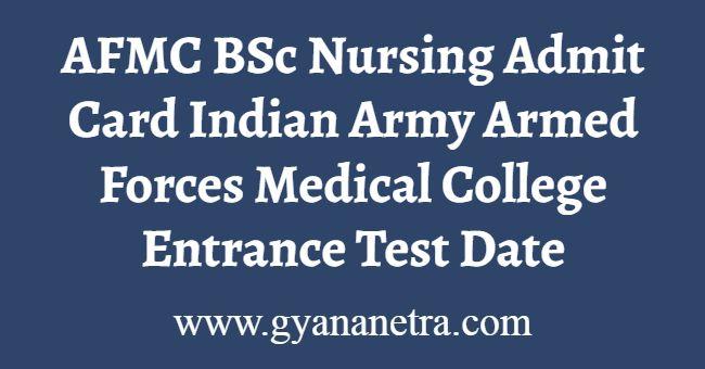 AFMC BSc Nursing Admit Card