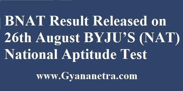 BNAT Result National Aptitude Test